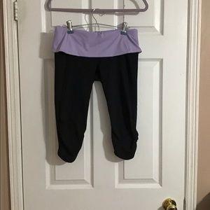 Lululemon Black Purple Fold Over Crop Legging 8
